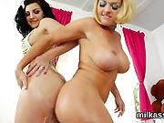 Wacky Lesbos Fill Up Their Big Fannys With Milk And Burst It Out