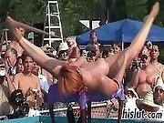 Ravishing Redhead Performs Striptease In Public