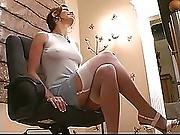 Amazing Brunette With Pierced Clit Strips And Spreads Her Long Legs