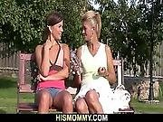 Old Mom Pleases Her Son S Gf With Dildo