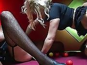 Two Hunks Pound Three Horny Babes On A Pool Table