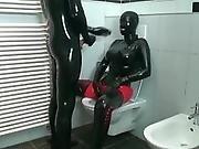 Latex Kinky Bathroom Play