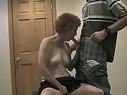 amateur,  basement,  facial,  mature,  redhead,  wife
