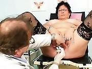 Busty Elder Woman Gyn Clinic Exam
