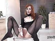 Flawless Sweetie Is Pissing And Masturbating Bald Kitty