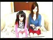 Japanese Mother And Daughter Get Fucked On Couch