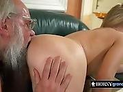 Old Dude Gets Pleased By Young Cutie
