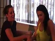 Two Sisters Give Handjob To Brother