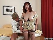 Guy Drills Her Old Hairy Pussy