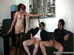 blowjob,  business woman,  dick,  granny,  mature,  milf,  office,  old ,  sex ,  threesome,  young