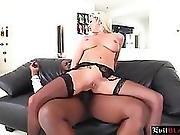 Busty Milf In Hot Lingerie Got Her Ass Stuffed Hard By Huge Black Cock