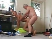 Tattoed short haired girl whit old man