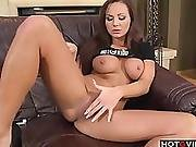 Euro Chick Fingers Her Pussy On The Couch