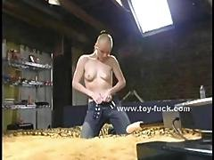 Blonde Babe With Small Tits Takes Off Her Clothes And Starts Testing Fucking Machines Masturbating
