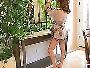 Soft teasing upskirt in front of mirror