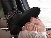 Hot Dominatrix Makes Old Man Licking Her Riding Boots