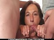 Naughty Granny Swallows Two Young Dicks