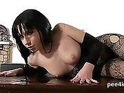 Flawless Girl Is Pissing And Pleasuring Trimmed Slit