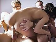 Nymphomaniac Emily Took Two Cocks In Her Mouth