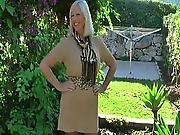 blonde,  older woman,  outdoor,  stocking,  teasing