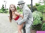 Horny Alessandra Pounded By A Living Statue With A Big Hard Cock