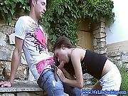 Cocksucking Teen Gf Gets A Mouthful Outdoors