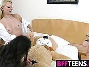 Three Hot Cuties Sharing A Strapon