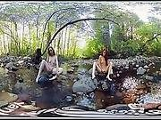Yanksvr%5C%27s Ana Molly And Belle Masturbate And Cum Outside In A Creek