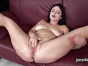 Flawless Teenie Is Peeing And Masturbating Smooth Fuckbox