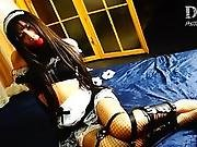 Lovely Chinese Maid In Leather Armbinder