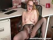 Horny Office Babe Lucy Lume Fucks Big Dildo Toy In Sheer Nylon Pantyhose Kinky Leather Mini Skirt And High Heels