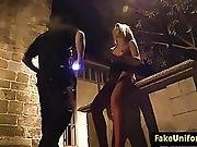 Stockinged Euro Pussyfucked Outdoors By Cop