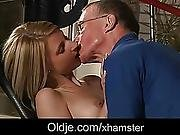 Old John Nails Candys Tiny Pussy With His Big Cock