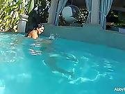 Swimming pool tease with Abigail & Romi