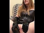 Blonde In Leather Masturbation