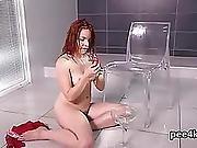 Ravishing Girl Is Peeing And Pleasuring Smooth Slit