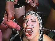 European Slut Gets Showered In Pissing Gang Bang