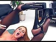 anal,  black,  blonde,  fucking,  garter,  lingerie,  nylon,  sexy,  sex ,  stocking