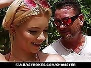 Familystrokes Cute Teen Blonde Teases Cousin Uncle