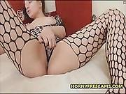 18yo In Fishnet Stockings Fucks Ass And Squirts