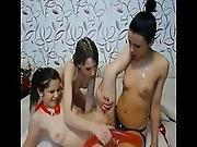Threesome Lesbians Strapon Anal Fun