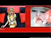asian,  cam girl,  facial,  interracial,  surprised,  webcam