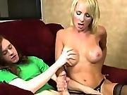 Hj Loving Busty Milf Rubbing Dick