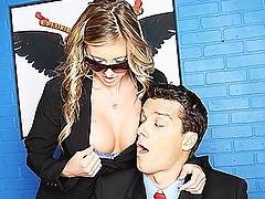 Blond Big Tit Young Security Agent In Stockings Fucks Dick In Off