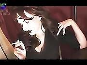 Twyla Friday Nite Smoking Fetish- Glossy Black Lips And A Camel No. 9 100s