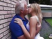 Grandpa Fucks Teen Fingers Her Tight Pussy Fucks Her Mouth