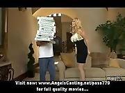 blonde,  blowjob,  dress,  milf,  pizza