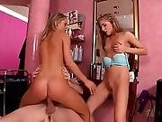 Two Blonde Hungarian College Babes Fuck A Huge Dick