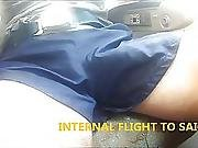 23 Horny Cock Out Coach And Plane Shiny Nylon Shorts