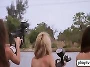 Three Hot Playmates Nude Water Gliding